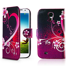 Samsung Galaxy S4 PU leather design book case - Love Heart Mobile phones
