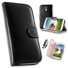 Samsung Galaxy S4 Genuine premium leather wallet book case - Black Mobile phones