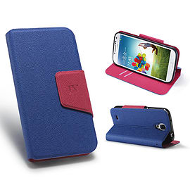 Samsung Galaxy S4 Smart tab PU leather book case - Deep Blue Mobile phones