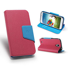 Samsung Galaxy S4 Smart tab PU leather book case - Hot Pink Mobile phones