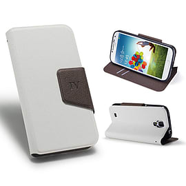 Samsung Galaxy S4 Smart tab PU leather book case - White Mobile phones