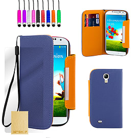 Samsung Galaxy S4 Stand book PU leather case - Deep Blue Mobile phones