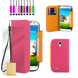 Samsung Galaxy S4 Stand book PU leather case - Hot Pink Mobile phones