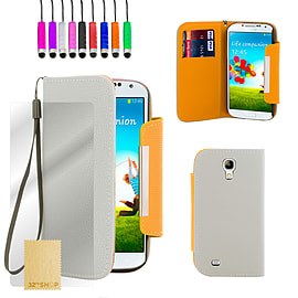 Samsung Galaxy S4 Stand book PU leather case - White Mobile phones