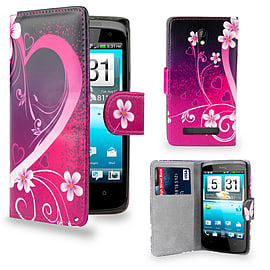 HTC Desire 510 PU leather design book case - Love Heart Mobile phones