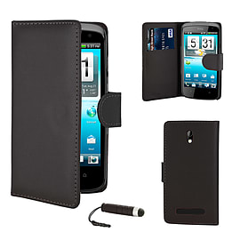 HTC Desure 500 Stylish PU Leather wallet case - Black Mobile phones