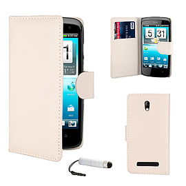 HTC Desure 500 Stylish PU Leather wallet case - White Mobile phones