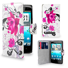 HTC Desure 500 PU leather design book case - Purple Rose Mobile phones