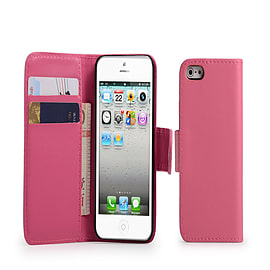 iPhone 5C Stylish PU leather wallet case - Hot Pink Mobile phones