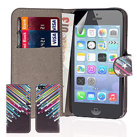 iPhone 5C PU leather design book case - Shooting Stars Mobile phones