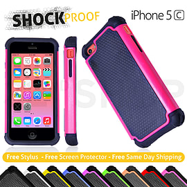 iPhone 5C Dual Layer shockproof case - Hot Pink Mobile phones