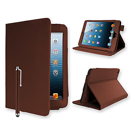 iPad 2/3/4 PU leather angle book stand case - Brown Tablet