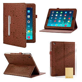 iPad 2/3/4 Cute love PU leather book case - Brown Tablet