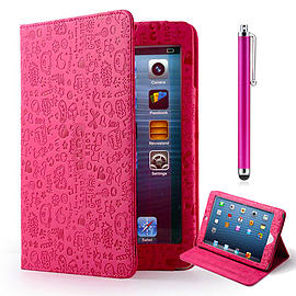 iPad 2/3/4 Cute love PU leather book case - Hot Pink Tablet