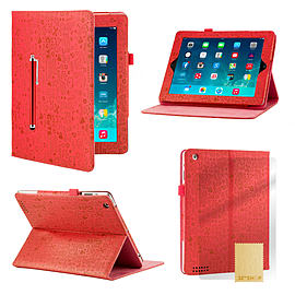 iPad 2/3/4 Cute love PU leather book case - Red Tablet