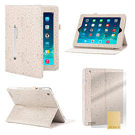 iPad 2/3/4 Cute love PU leather book case - White Tablet
