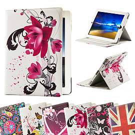 iPad 2/3/4 PU leather design book case - Purple Rose Tablet