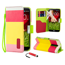 LG G2 Multi-stripe PU leather book case - Hot Pink Mobile phones