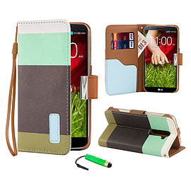 LG G2 Multi-stripe PU leather book case - Turquoise Mobile phones