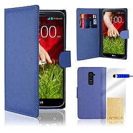 LG G2 Stylish PU leather wallet case - Deep Blue Mobile phones