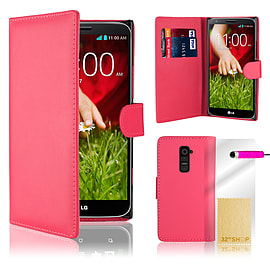 LG G2 Stylish PU leather wallet case - Hot Pink Mobile phones