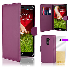 LG G2 Stylish PU leather wallet case - Purple Mobile phones