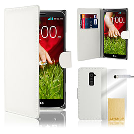 LG G2 Stylish PU leather wallet case - White Mobile phones
