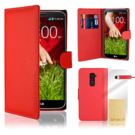 LG G2 Mini Stylish PU leather wallet case - Red Mobile phones