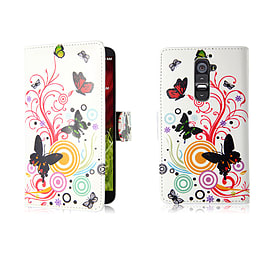 LG G2 Mini PU leather design book case - Colour Butterfly Mobile phones