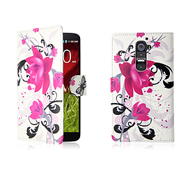 LG G2 Mini PU leather design book case - Purple Rose Mobile phones