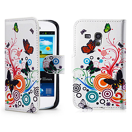 Samsung Galaxy S3 Mini PU leather design book case - Colour Butterfly Mobile phones