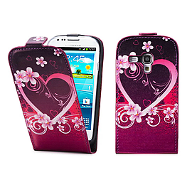 Samsung Galaxy S3 Mini PU leather design flip case - Love Heart Mobile phones