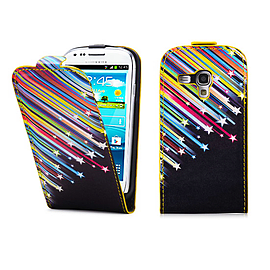 Samsung Galaxy S3 Mini PU leather design flip case - Shooting Stars Mobile phones