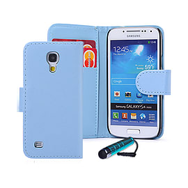Samsung Galaxy S4 Stylish PU leather wallet case - Light Blue Mobile phones