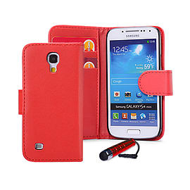 Samsung Galaxy S4 Stylish PU leather wallet case - Red Mobile phones