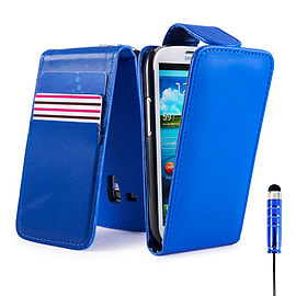 Samsung Galaxy S4 Stylish PU leather flip case - Deep Blue Mobile phones
