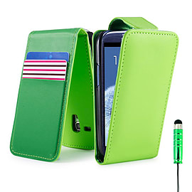 Samsung Galaxy S4 Stylish PU leather flip case - Green Mobile phones