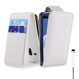 Samsung Galaxy S4 Stylish PU leather flip case - White Mobile phones