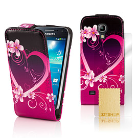 Samsung Galaxy S4 PU leather design flip case - Love Heart Mobile phones