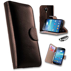 Samsung Galaxy S4 Genuine premium leather book case - Brown Mobile phones