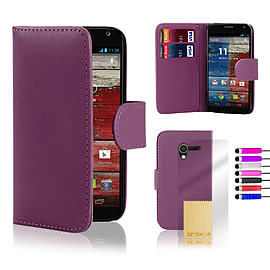 Motorola Moto E Stylish PU leather wallet case - Purple Mobile phones