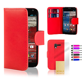 Motorola Moto E Stylish PU leather wallet case - Red Mobile phones