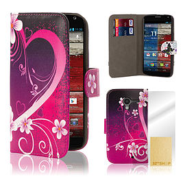 Motorola Moto E PU leather design book case - Love Heart Mobile phones