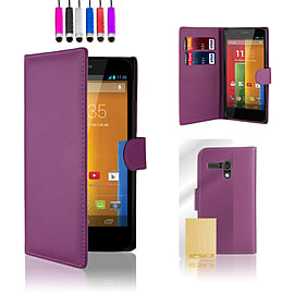 Motorola Moto G (2013) Stylish PU leather wallet case - Purple Mobile phones