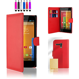 Motorola Moto G (2013) Stylish PU leather wallet case - Red Mobile phones