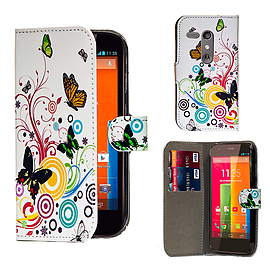Motorola Moto G (2013) PU leather design book case - Colour Butterfly Mobile phones