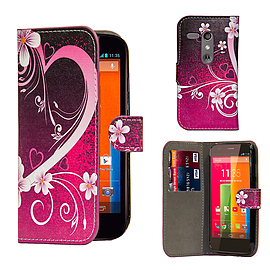 Motorola Moto G (2013) PU leather design book case - Love Heart Mobile phones