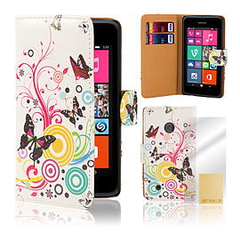 Nokia Lumia 530 PU leather design book case - Colour Butterfly Mobile phones