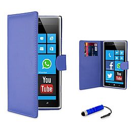 Nokia Lumia 620 Stylish PU leather wallet case - Deep Blue Mobile phones