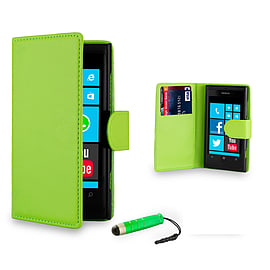 Nokia Lumia 620 Stylish PU leather wallet case - Green Mobile phones